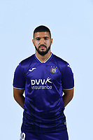 30th July 2020, Turbize, Belgium;   Zakaria Bakkali midfielder of Anderlecht pictured during the team photo shoot of RSC Anderlecht prior the Jupiler Pro league football season 2020 - 2021 at Tubize training Grounds.