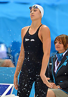 August 02, 2012..Micah Lawrence prepares to compete in Women's 200m Breaststroke Final at the Aquatics Center on day six of 2012 Olympic Games in London, United Kingdom.