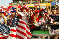 USA fans. The USA defeated Mexico 2-0 in the Round of 16 of the FIFA World Cup 2002 in South Korea on June 17, 2002.