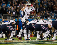 The Carolina Panthers play the New England Patriots at Bank of America Stadium in Charlotte North Carolina on Monday Night Football.  The Panthers defeated the Patriots 24-20.  New England Patriots quarterback Tom Brady (12)