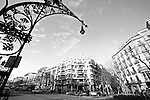 Outside La Casa Mila, an apartment building designed by Antoni Gaudi in 1905. Barcelona, Spain. Feb.18, 2009.