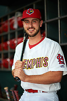 Memphis Redbirds shortstop Paul DeJong (11) poses for a photo before a game against the Round Rock Express on April 28, 2017 at AutoZone Park in Memphis, Tennessee.  Memphis defeated Round Rock 9-1.  (Mike Janes/Four Seam Images)