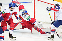 29th May 2021; Olympic Sports Centre, Riga, Latvia; IIHF World Championship Ice Hockey, Czech Republic versus Great Britain;  goalkeeper Roman Will Czech Republic makes a save on the back post