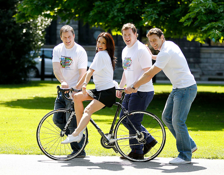 C.R.O.S.S. Rugby Legends Cycle launch..Richard (left), Paul and David Wallace along with Mairead Farrell from Today FM launch the Wallace Brothers C.R.O.S.S. Rugby Legends Cycle.
