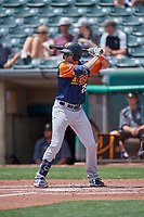 Austin Allen (25) of the Las Vegas Aviators at bat against the Salt Lake Bees at Smith's Ballpark on June 27, 2021 in Salt Lake City, Utah. The Aviators defeated the Bees 5-3. (Stephen Smith/Four Seam Images)