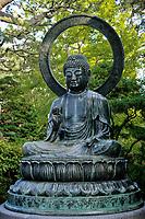 San Francisco, California.  Buddha, Japanese Tea Garden, Golden Gate Park.  The Bhudda was cast in 1790, in Tajima, Japan.  It is the largest bronze Buddha outside Asia.