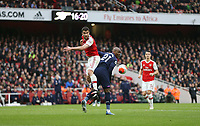 Arsenal's Sokratis Papastathopoulos and West Ham United's Angelo Ogbonna<br /> <br /> Photographer Rob Newell/CameraSport<br /> <br /> The Premier League - Arsenal v West Ham United - Saturday 7th March 2020 - The Emirates Stadium - London<br /> <br /> World Copyright © 2020 CameraSport. All rights reserved. 43 Linden Ave. Countesthorpe. Leicester. England. LE8 5PG - Tel: +44 (0) 116 277 4147 - admin@camerasport.com - www.camerasport.com