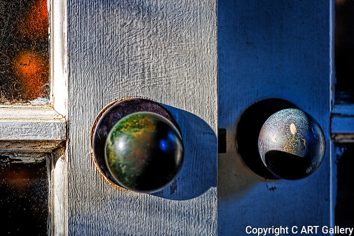 Door handles and old paint, Southern California.