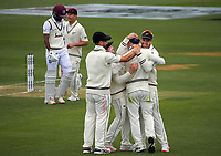 The Black Caps congratulate Will Young for catching Kraigg Brathwaite during day three of the second International Test Cricket match between the New Zealand Black Caps and West Indies at the Basin Reserve in Wellington, New Zealand on Sunday, 13 December 2020. Photo: Dave Lintott / lintottphoto.co.nz