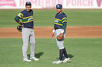 Beloit Snappers infielder Edwin Diaz (4) and infielder Jose Brizuela (8) during a Midwest League game against the Wisconsin Timber Rattlers on May 30th, 2015 at Fox Cities Stadium in Appleton, Wisconsin. Wisconsin defeated Beloit 5-3 in the completion of a game originally started on May 29th before being suspended by rain with the score tied 3-3 in the sixth inning. (Brad Krause/Four Seam Images)
