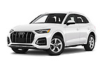Stock pictures of low aggressive front three quarter view of 2021 Audi Q5 Premium 5 Door SUV Low Aggressive
