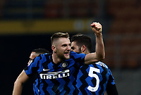 Calcio, Serie A: Inter Milano - Atalanta, Giuseppe Meazza (San Siro) stadium, in Milan, March 8, 2021.  <br /> Inter's Milan Skriniar celebrates after winning 1-0 the Italian Serie A football match between Inter and Atalanta at Giuseppe Meazza (San Siro) stadium, on  March 8, 2021.  <br /> UPDATE IMAGES PRESS/Isabella Bonotto