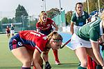 Mannheim, Germany, October 18: During the 1. Bundesliga women fieldhockey match between Mannheimer HC (red) and Uhlenhorst Muelheim (green) on October 18, 2020 at Am Neckarkanal in Mannheim, Germany. Final score 1-0 (HT 0-0). (Copyright Dirk Markgraf / www.265-images.com) *** Lisa Mayerhoefer #17 of Mannheimer HC