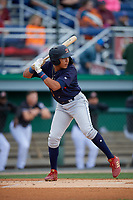 State College Spikes Donivan Williams (5) at bat during a NY-Penn League game against the Batavia Muckdogs on August 24, 2019 at Dwyer Stadium in Batavia, New York.  State College defeated Batavia 1-0.  (Mike Janes/Four Seam Images)