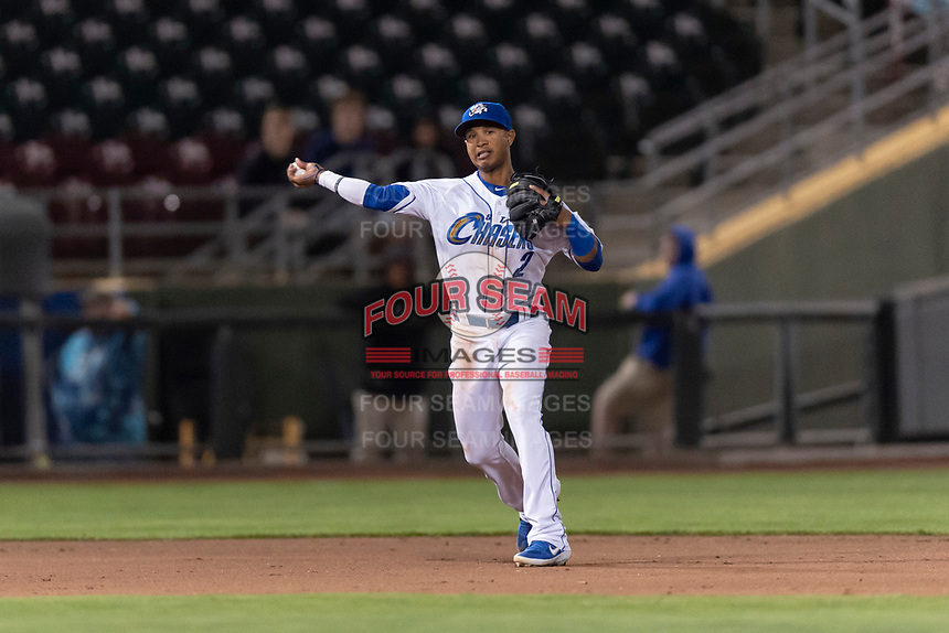 Omaha Storm Chasers third baseman Jecksson Flores (2) during a Pacific Coast League game against the Memphis Redbirds on April 26, 2019 at Werner Park in Omaha, Nebraska. Memphis defeated Omaha 7-3. (Zachary Lucy/Four Seam Images)