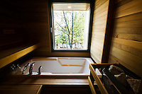 A cedar wood lined sauna benefits from a sunken Jacuzzi with a lakeside view