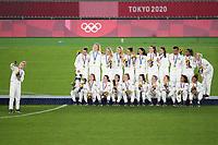 YOKOHAMA, JAPAN - AUGUST 6: USWNT take a selfie during the 2020 Tokyo Olympics Women's Soccer medal ceremony at International Stadium Yokohama on August 6, 2021 in Yokohama, Japan.