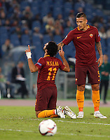 Calcio, Europa League: Roma vs Astra Giurgiu. Roma, stadio Olimpico, 29 settembre 2016.<br /> Roma's Mohamed Salah, left, celebrates with his teammate Leandro Paredes after scoring during the Europa League Group E soccer match between Roma and Astra Giurgiu at Rome's Olympic stadium, 29 September 2016. Roma won 4-0.<br /> UPDATE IMAGES PRESS/Riccardo De Luca