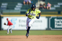 Ronny Mauricio (2) of the Columbia Fireflies hustles towards third base against the Rome Braves at Segra Park on May 13, 2019 in Columbia, South Carolina. The Fireflies walked-off the Braves 2-1 in game one of a doubleheader. (Brian Westerholt/Four Seam Images)