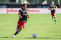 LAKE BUENA VISTA, FL - JULY 13: Edison Flores #10 of DC United dribbles the ball during a game between D.C. United and Toronto FC at Wide World of Sports on July 13, 2020 in Lake Buena Vista, Florida.