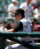 Tony DeFrancesco, manager of the  Sacramento RiverCats  watches his team play against the Round Rock Express at Raley Field, Sacramento, CA - 05/19/2009.Photo by:  Bill Mitchell/Four Seam Images