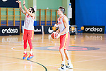 Players Ricky Rubio (l) and Xavi Rabaseda during the training of Spanish National Team of Basketball 2019 . July 26, 2019. (ALTERPHOTOS/Francis González)