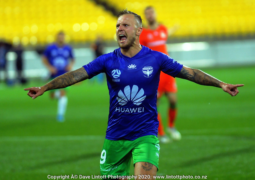 David Ball celebrates his goal during the A-League football match between Wellington Phoenix and Western United FC at Sky Stadium in Wellington, New Zealand on Friday, 21 February 2020. Photo: Dave Lintott / lintottphoto.co.nz