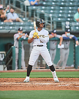 Luis Aviles Jr. (12) of the Salt Lake Bees at bat against the Reno Aces at Smith's Ballpark on May 6, 2021 in Salt Lake City, Utah. The Aces defeated the Bees 5-4. (Stephen Smith/Four Seam Images)
