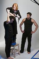Moscow, Russia, 11/02/2011..Producer Elena Kashirskaya directs Snob magazine journalist Ilya Kolmonovski during studio shoot in which Kolmonovski enacts parts of the human body.