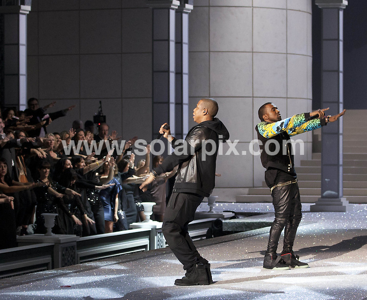 **ALL ROUND PICTURES FROM SOLARPIX.COM**                                             **SYNDICATION RIGHTS FOR UK, AUSTRALIA, DENMARK, PORTUGAL, S. AFRICA, SPAIN & DUBAI (U.A.E) & ASIA (EXCLUDING JAPAN) ONLY**                                                                                  Caption: 2011 Victoria's Secret Fashion Show  Runway and Performance at Lexington Avenue Armory in New York City, NY, USA                                                                               This pic: Kanye West and Jay-Z                                                                                       JOB REF:14174        PHZ/Mayer       DATE:09.11.2011                                                            **MUST CREDIT SOLARPIX.COM OR DOUBLE FEE WILL BE CHARGED**                                                                      **MUST AGREE FEE BEFORE ONLINE USAGE**                               **CALL US ON: +34 952 811 768 or LOW RATE FROM UK 0844 617 7637**