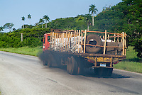 Smoking truck on the highway between Havana and Pinar del Rio, Cuba.