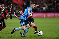 1st May 2021; Bankwest Stadium, Parramatta, New South Wales, Australia; A League Football, Western Sydney Wanderers versus Sydney FC; Anthony Caceres of Sydney goes past Bruce Kamau and Graham Dorrans of Western Sydney Wanderers