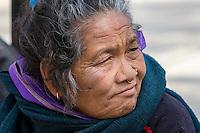Nepal, Kathmandu, Swayambhunath.  Middle-aged Woman with Nose Ring and Nose Pin.