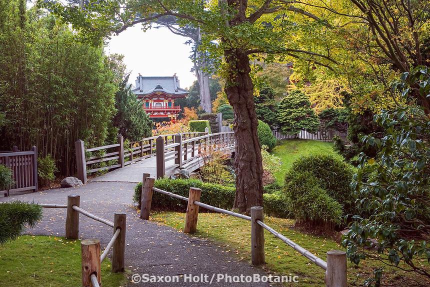 Japanese Tea Garden in Golden Gate Park, San Francisco, California. Garden path.