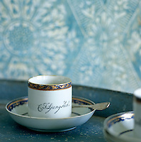 Detail of a fine china coffee cup and saucer