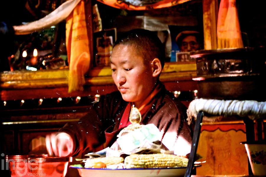 Nun at Ani Tsankhung Nunnery in Lhasa, Tibet