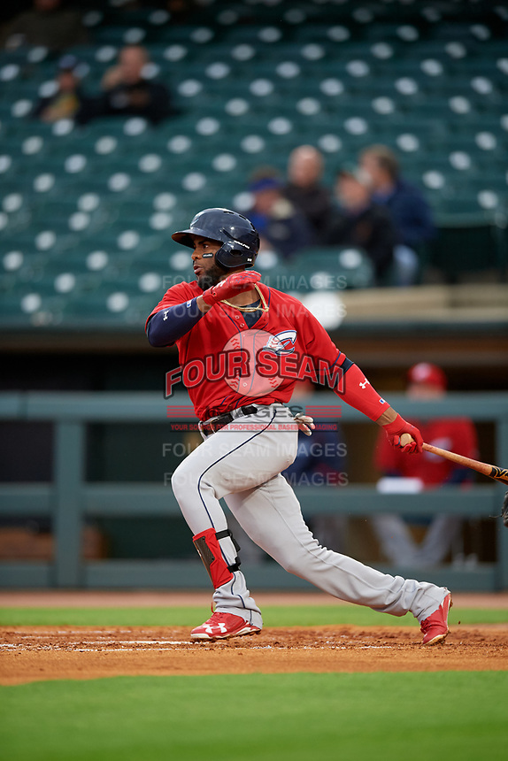 Columbus Clippers third baseman Yandy Diaz (10) bats during a game against the Louisville Bats on May 1, 2017 at Louisville Slugger Field in Louisville, Kentucky.  Columbus defeated Louisville 6-1  (Mike Janes/Four Seam Images)