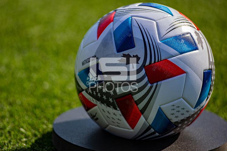 CARSON, CA - MAY 8: Adidas Nativo21 Ball during a game between Los Angeles FC and Los Angeles Galaxy at Dignity Health Sports Park on May 8, 2021 in Carson, California.