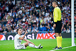 Real Madrid Lucas Vazquez talking with the referee during UEFA Champions League match between Real Madrid and FC Viktoria Plzen at Santiago Bernabeu Stadium in Madrid, Spain. October 23, 2018. (ALTERPHOTOS/Borja B.Hojas)