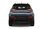 Straight rear view of a 2017 Volkswagen Cherokee Trailhawk 4X4 5 Door SUV stock images