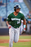 Daytona Tortugas designated hitter Yorman Rodriguez (33) runs to first during a game against the Tampa Yankees on August 5, 2016 at George M. Steinbrenner Field in Tampa, Florida.  Tampa defeated Daytona 7-1.  (Mike Janes/Four Seam Images)
