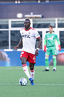 FOXBOROUGH, MA - JUNE 26: Caiser Gomes #4 of North Texas SC during a game between North Texas SC and New England Revolution II at Gillette Stadium on June 26, 2021 in Foxborough, Massachusetts.