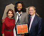 Sarah Stern, Jeremy O. Harris and Douglas Aibel attends the Vineyard Theatre Paula Vogel Playwriting Award honoring Jeremy O. Harris on October 12, 2018 at the National Arts Club in New York City.