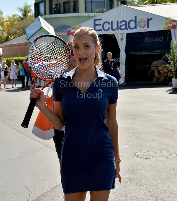KEY BISCAYNE, FL - APRIL 03: (EXCLUSIVE COVERAGE) Sports Illustrated cover model Hannah Davis during day 12 of the Miami Open at Crandon Park Tennis Center on April 3, 2015 in Key Biscayne, Florida.<br /> <br /> <br /> People:  Hannah Davis<br /> <br /> Transmission Ref:  FLXX<br /> <br /> Must call if interested<br /> Michael Storms<br /> Storms Media Group Inc.<br /> 305-632-3400 - Cell<br /> 305-513-5783 - Fax<br /> MikeStorm@aol.com