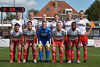 team of Zulte Waregem with up from L to R Sheryl Merchiers   Lotte De Wilde   Laura Vervacke   Anne Lore Scherrens   Ella Vierendeels   Romy Camps   under from L to R  Liesa Capiau   Amber de Priester   Ianthe Meersschaert   Ulrike De Frere   Esther Buabadi  pictured during a female soccer game between SV Zulte - Waregem and RSC Anderlecht Dames on the second matchday of the 2020 - 2021 season of Belgian Scooore Women s SuperLeague , saturday 5 th of September 2020  in Zulte , Belgium . PHOTO SPORTPIX.BE | SPP | DIRK VUYLSTEKE