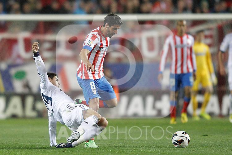 Real Madrid's Morata Atletico's Raul Garcia during La Liga BBVA match. April 27, 2013.(ALTERPHOTOS/Alconada)