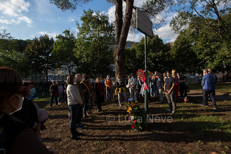 """Rome, 29/09/2020. Today, the VIII Municipio di Roma (8th Municipality of Rome) supported by the Associazione """"Il Tempo Ritrovato"""" and """"La Cultura Del Cuore"""", held a rally at Maria Rosaria Lopez's Park to commemorate the 45th anniversary of the Circeo massacre. On the 29th September 1975 Maria Rosaria Lopez and Donatella Colasanti were kidnapped, raped and tortured by three young-wealthy neo-fascist men, Angelo Izzo (20), Gianni Guido (19), Andrea Ghira (22), in a villa of Circeo, a wealthy seaside area about 100km south of Rome. Maria Rosaria Lopez (bartender, 19) was killed by her captors, Donatella Colasanti (student, 17), miraculously saved herself by pretending to be dead. From the organiser press released (1.): «[…] Maria Rosaria died that night, while Donatella left us in 2005 after years of struggles in the name of truth and justice trials which have traced a historical and cultural change in terms of condemnation of gender violence perpetrators and not of their victims. For the first time, feminist associations have taken civil action, shouting that for every woman raped and offended we are all women the victims of the violence […]».<br /> <br /> Footnotes & Links:<br /> 1. https://www.facebook.com/casaintdelledonneroma/photos/a.560595397299220/5070912089600839/?type=3&theater<br /> (Source, Globalist.it ITA) Un fiore per Rosaria e Donatella 45 anni dopo il massacro del Circeo http://bit.do/fJVuV<br /> (Source, Wikipedia.org, ITA) https://it.wikipedia.org/wiki/Massacro_del_Circeo"""