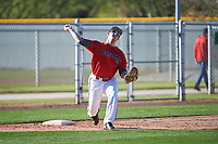 Joe Wozny (17) of The Stony Brook School in Lake Grove, New York during the Baseball Factory All-America Pre-Season Tournament, powered by Under Armour, on January 13, 2018 at Sloan Park Complex in Mesa, Arizona.  (Art Foxall/Four Seam Images)