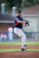 Lowell Spinners starting pitcher Brian Brown (56) delivers a pitch during a game against the Auburn Doubledays on July 13, 2018 at Falcon Park in Auburn, New York.  Lowell defeated Auburn 8-5.  (Mike Janes/Four Seam Images)