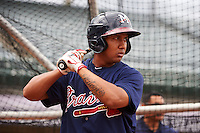 Mississippi Braves shortstop Emerson Landoni (19) during practice before a game against the Mobile BayBears on April 28, 2015 at Hank Aaron Stadium in Mobile, Alabama.  The game was suspended after the top of the second inning with Mobile leading 3-0, the BayBears went on to defeat the Braves 6-1 the following day.  (Mike Janes/Four Seam Images)